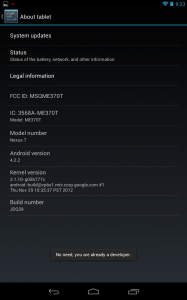Nexus 7 Developer Mode Notification