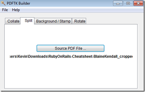 PDFtk Split Source PDF File